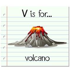 Flashcard letter V is for volcano vector