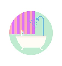 Flat Design Bathroom with Bath Icon vector image