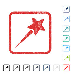 Flying star icon rubber watermark vector