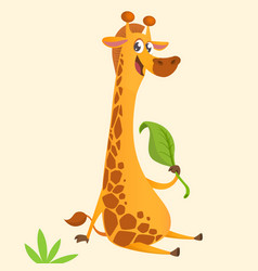 Funny cartoon giraffe eating a leaf vector