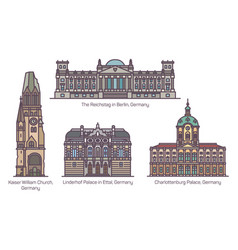 germany or german architecture landmarks in line vector image