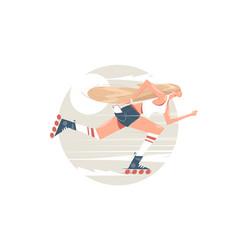 Girl roller skating vector