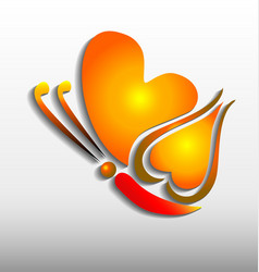 glowing butterfly heart shape symbol vector image