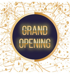 Grand opening lettering sparkling banner with vector