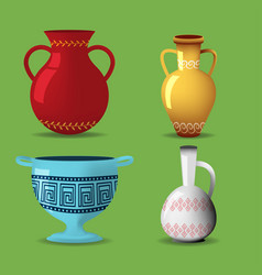 greek pot object isolate set vector image