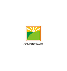 green land sun shine nature company logo vector image