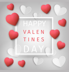 greeting card with red and white hearts vector image