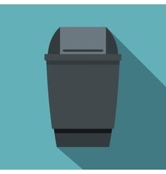 Grey flip lid bin icon flat style vector image