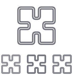 Grey line research logo design set vector