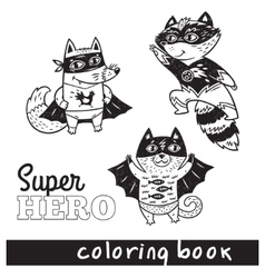 Hand drawn outline cartoon animals in superheroes vector