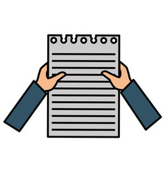 hands human with document paper isolated icon vector image