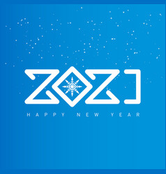 happy new year 2021 background with snow cover vector image