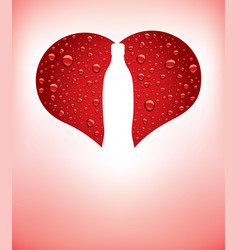 Heart with red water drops and shape of bottle vector
