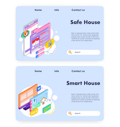 house insurance and safety smart house technology vector image