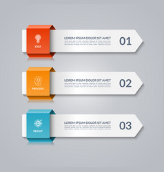 infographic template with 3 arrows options steps vector image