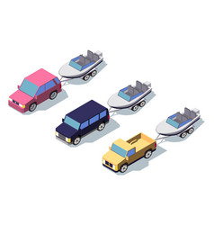isometric 3d front view classic pickup truck car vector image
