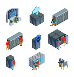isometric datacenter elements set vector image