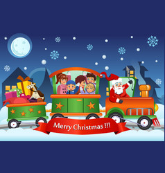 Kids and santa claus on a train carrying vector