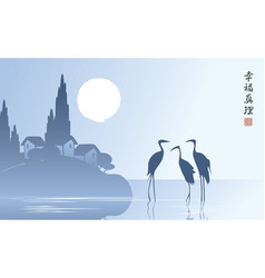 Landscape with three herons in lake at sunset vector