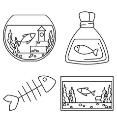 line art black and white fish elements vector image