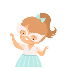 Little girl wearing festive mask waving hands vector
