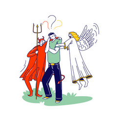 Male character with angel and devil behind his vector