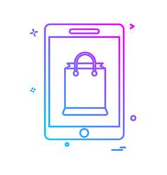 mobile shopping icon design vector image