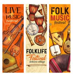 Musical instrument banner folk music festival vector