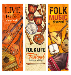 Musical instrument banner of folk music festival vector
