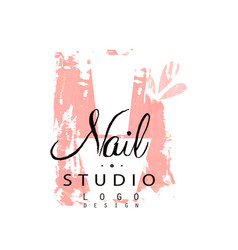 Nail studio logo design template for nail bar vector