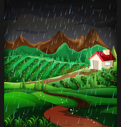 Nature scene with raining in the hillside vector
