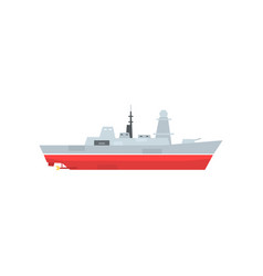 Naval armed ship with radar and antenna military vector