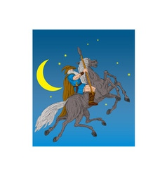 Norse God Odin riding eight-legged horse vector image