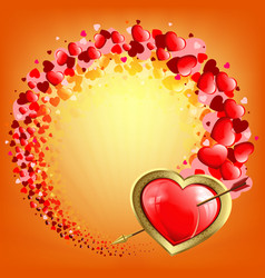 orange composition of many hearts and a red heart vector image