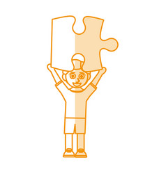 orange silhouette shading caricature boy with vector image