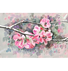Original painting of flower blooming spring vector