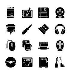 Pack computer hardware icons vector