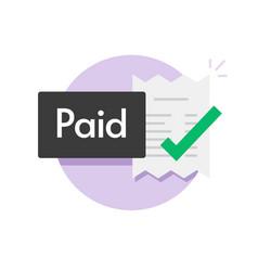 Paid bill invoice icon status button of vector