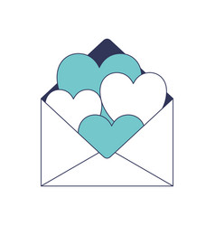 Paper envelope with hearts inside in blue color vector