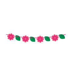 Party bunting flower shaped flags garland banner vector