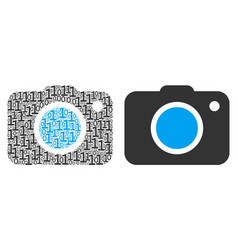 Photo camera collage of binary digits vector
