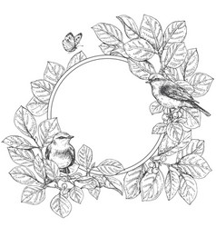 Round floral frame with birds vector