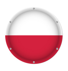 round metallic flag of poland with screws vector image