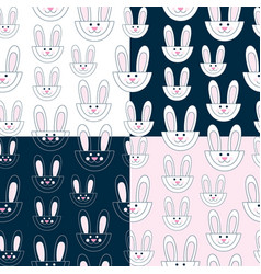 seamless pattern with cute rabbits set vector image vector image