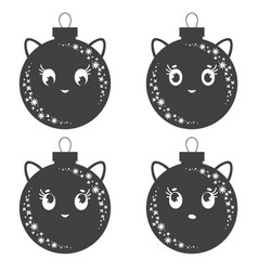 Set of flat black isolated christmas tree toms vector