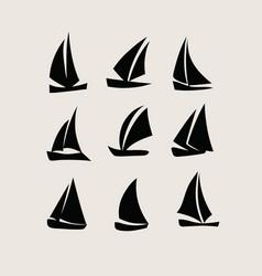 Ship icon silhouettes vector