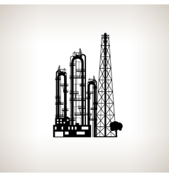 Silhouette a chemical plant or refinery process vector