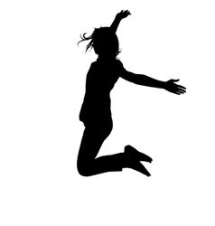 Silhouette young girl jumping with hands up vector image