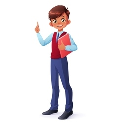 smart smiling schoolboy index finger vector image