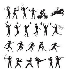 Sports Athletes Women Symbol Silhouette Set vector image